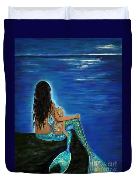Duvet Cover featuring the painting Mermaid And Her Daughter by Leslie Allen