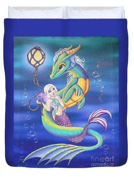 Mermaid And Sea Dragon Duvet Cover