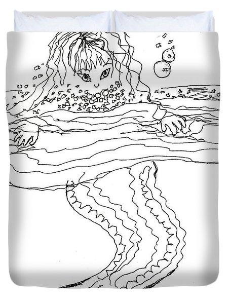 Mermaid Bubblebath Bw Duvet Cover