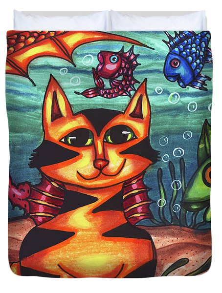 Mermaid Cat Fish Sealife Art Duvet Cover