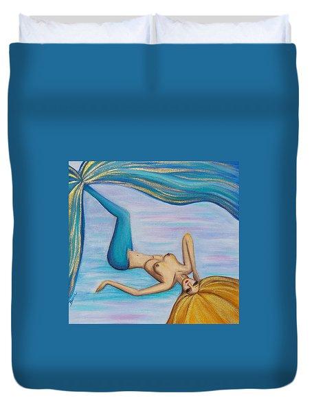 Mermaid Golden Hair Duvet Cover by Beryllium Canvas