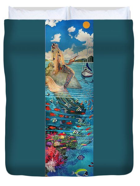 Mermaid In Paradise Duvet Cover