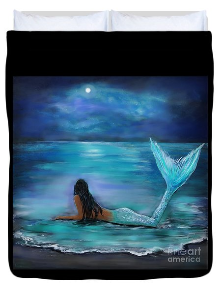 Mermaid Moon And Stars Duvet Cover by Leslie Allen
