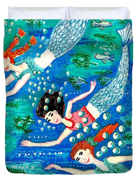 Mermaid Race Duvet Cover by Sushila Burgess