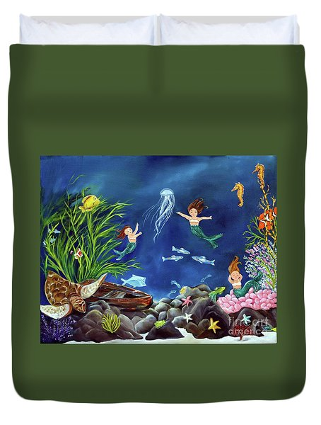 Duvet Cover featuring the painting Mermaid Recess by Carol Sweetwood