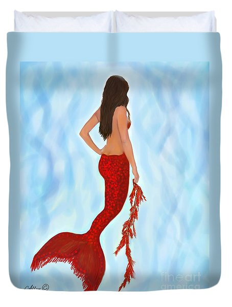 Duvet Cover featuring the painting Mermaid Ruby by Leslie Allen