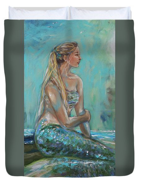 Mermaid Sunning On Shore Duvet Cover