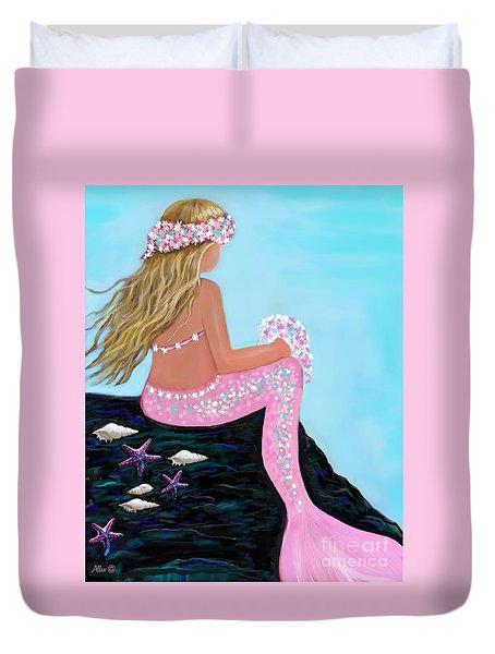 Duvet Cover featuring the painting Mermaid Sweetie by Leslie Allen