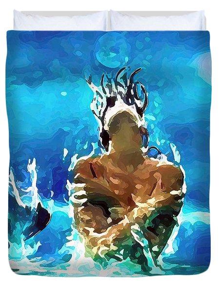 Mermaid Under The Moonlight Duvet Cover