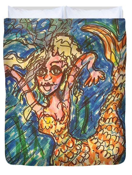 Mermaid Under The Sea Duvet Cover