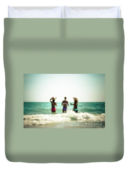 Duvet Cover featuring the photograph Mermaids by Hannes Cmarits
