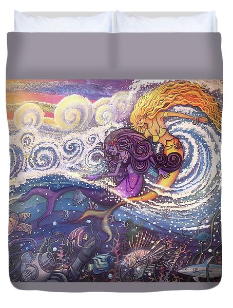 Mermaids In The Surf Duvet Cover