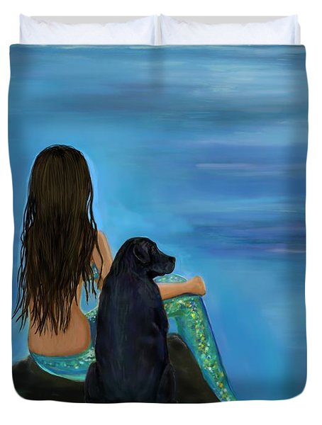 Duvet Cover featuring the painting Mermaids Loyal Bud by Leslie Allen