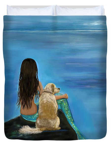 Duvet Cover featuring the painting Mermaids Loyal Buddy by Leslie Allen