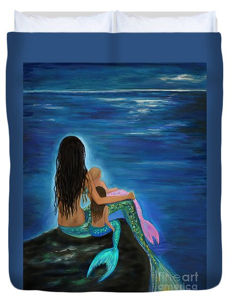 Duvet Cover featuring the painting Mermaids Sweet Little Girls by Leslie Allen