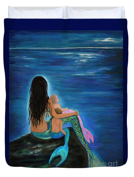 Duvet Cover featuring the painting Mermaids Sweet Little Ones by Leslie Allen
