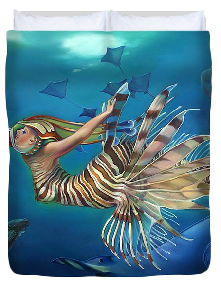 Mermalien Odyssey Duvet Cover by Patrick Anthony Pierson