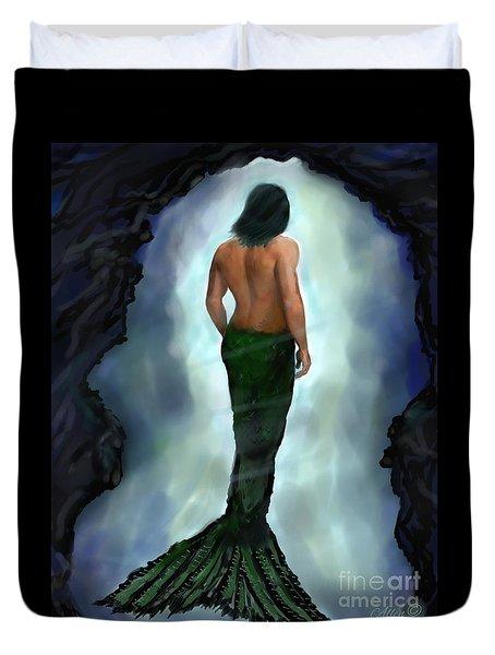 Duvet Cover featuring the painting Merman Below by Leslie Allen