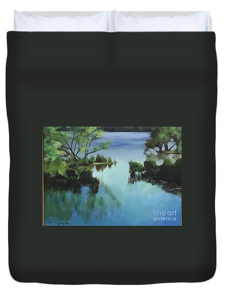 Merrimack River At Sunset Duvet Cover