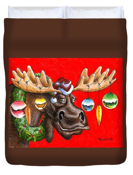 Merry Chris Moose Duvet Cover