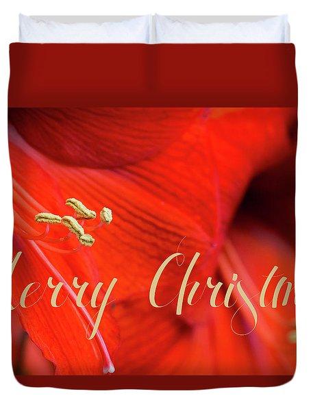 Merry Christmas Amaryllis Duvet Cover