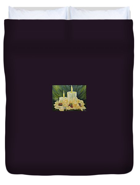 Our Lady And Child Jesus Duvet Cover by AmaS Art