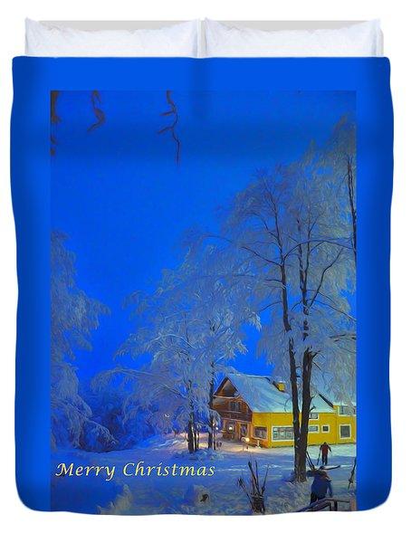 Merry Christmas Cabin Digital Art Duvet Cover