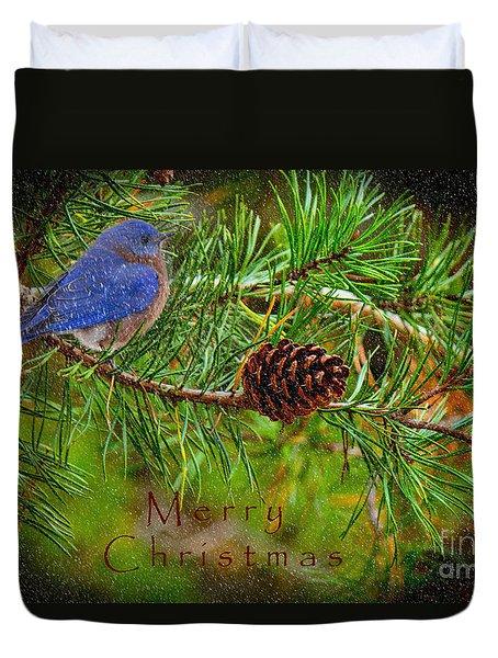 Merry Christmas Card With Bluebird Duvet Cover