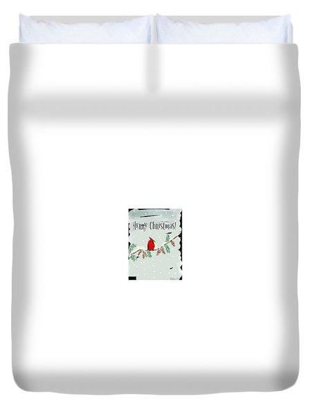 Merry Christmas Cardinal Duvet Cover