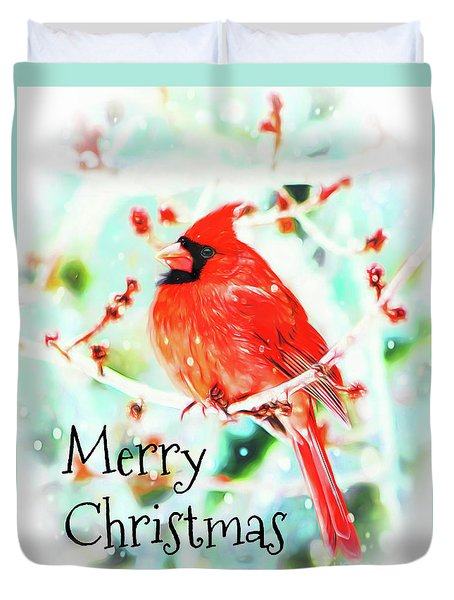 Merry Christmas Cardinal Duvet Cover