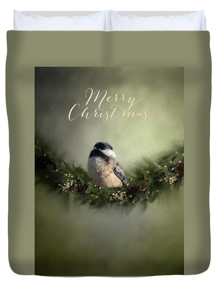 Merry Christmas Chicadee 1 Duvet Cover