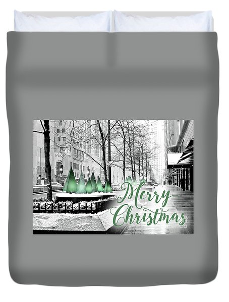 Merry Christmas Chicago Duvet Cover