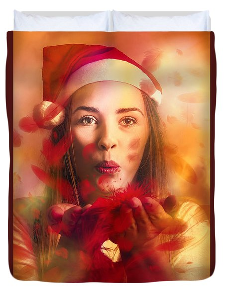 Merry Christmas Elf Duvet Cover by Jorgo Photography - Wall Art Gallery