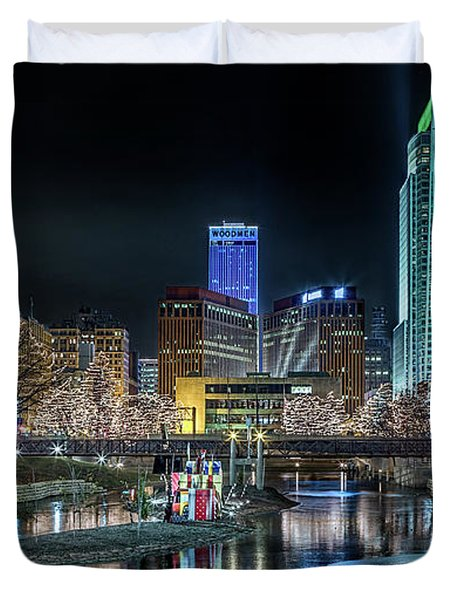 Merry Christmas Omaha Duvet Cover