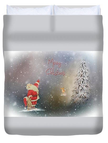 Duvet Cover featuring the photograph Merry Christmas Santa by Mary Timman