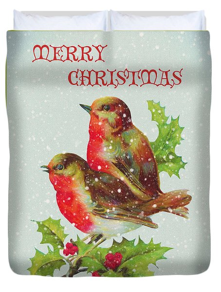 Merry Christmas Snowy Bird Couple Duvet Cover by Sandi OReilly