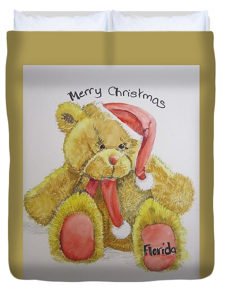 Merry Christmas Teddy  Duvet Cover