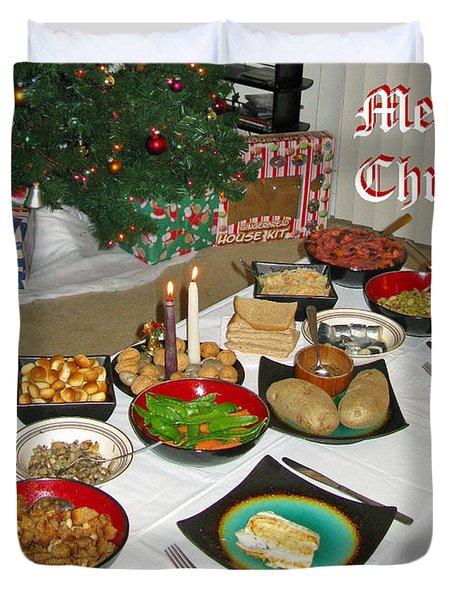 Merry Christmas- Traditional Lithuanian Christmas Eve Dinner Duvet Cover by Ausra Huntington nee Paulauskaite