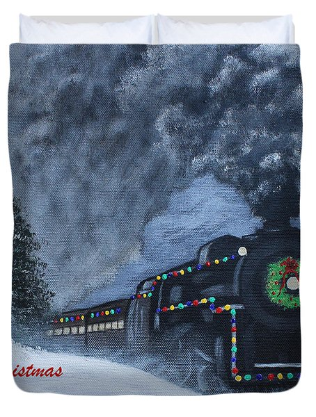 Merry Christmas Train Duvet Cover
