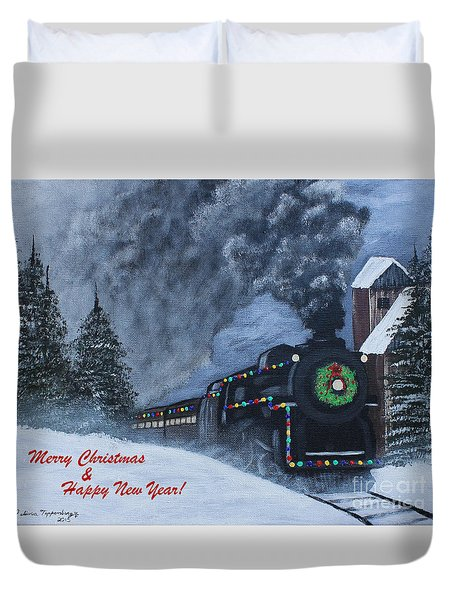 Merry Christmas Train Duvet Cover