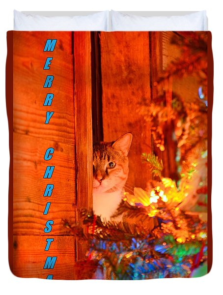 Merry Christmas Waiting For Santa Duvet Cover