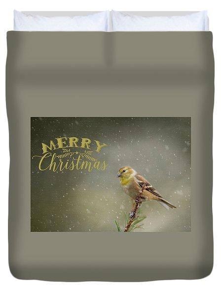 Merry Christmas Winter Goldfinch 1 Duvet Cover