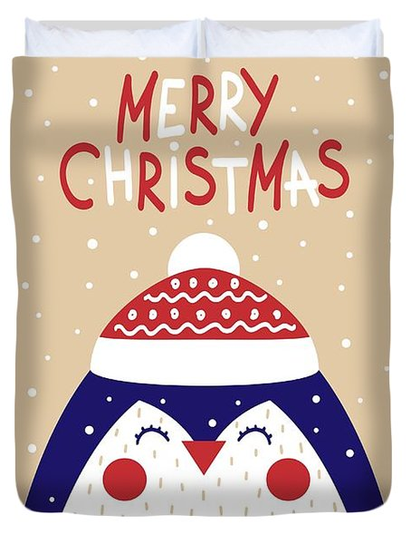 Merry Christmas With Penguin Duvet Cover