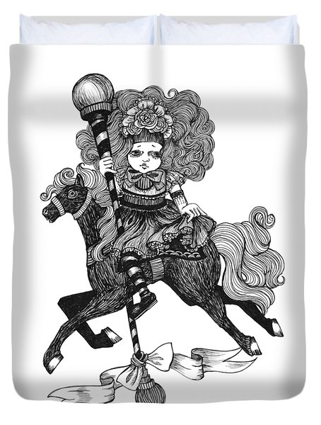 Merry-go-round Girl Duvet Cover
