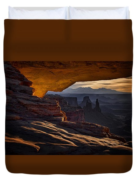 Duvet Cover featuring the photograph Mesa Arch Glow by Jaki Miller