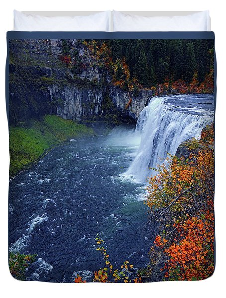 Mesa Falls In The Fall Duvet Cover