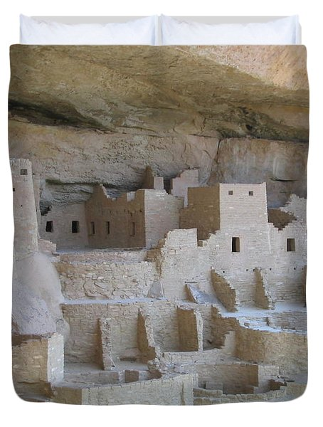 Duvet Cover featuring the digital art Mesa Verde Community by Gary Baird