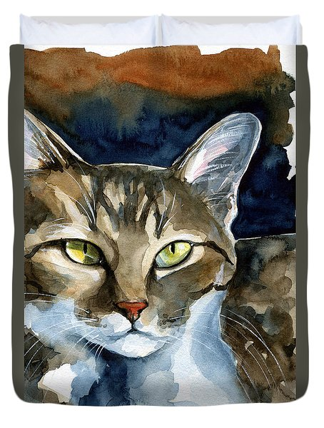 Mesmerizing Eyes - Tabby Cat Painting Duvet Cover