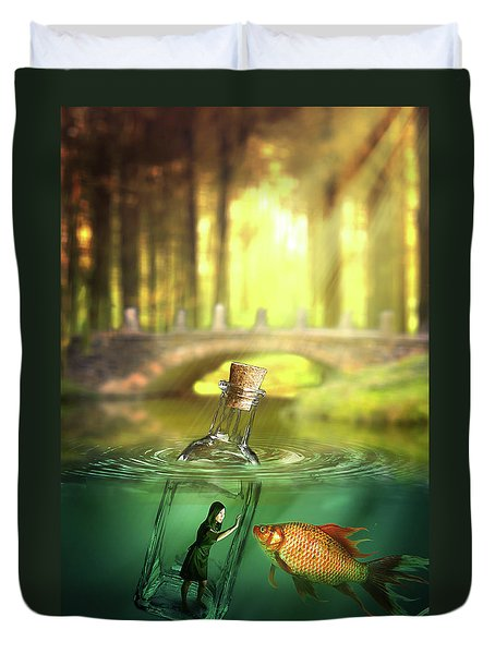 Message In A Bottle Duvet Cover by Nathan Wright