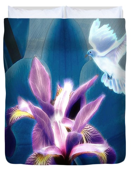 Duvet Cover featuring the digital art Message Of Peace by Pennie McCracken